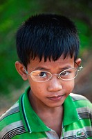 Portrait of a young Cambodian boy in Siem Reap, Cambodia