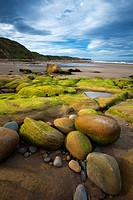 England, North Yorkshire, Scarborough. Scalby Ness Sands, located north of Scarborough within the North York Moors National Park.