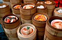 Bamboo Baskets with Asian Food