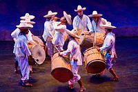 "Drummers from Tabasco, Performance of """"Mexico Espectacular"""", Xcaret, Playa del Carmen, Riviera Maya, Yucatan, Mexico."