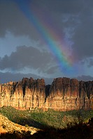 A rainbow is formed after a rainstorm at Zion National Park, Utah.