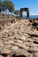 Roman ruins of Caparra, Road and Arch Cuadrifronte, Via de la Plata, Guijo de Granadilla, Caceres-province, Spain.