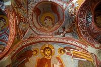 Frescoe of Jesus in the Carikli Church Church of Sandals at Goreme Open Air Museum. Cappadocia, Central Anatolia, Turkey.
