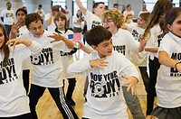 Exercisers participate in the Move Your Body campaign in Avenues The World School in Chelsea in New York. The campaign was launched by the WAT-AAH! Fo...