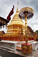 Golden, big Stupa. Doi Suithep, Chiang Mai, Thailand.