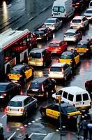 Traffic jam. Barcelona, Catalonia, Spain.
