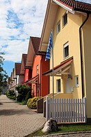 A row of new townhomes in Bavaria, Germany, Europe.