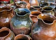 Clay pots at market