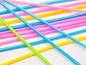 Colorful straws isolated on white background.