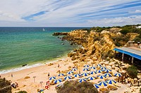 View of the beautiful coastline near Albufeira in the Algarve, Portugal.