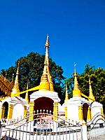 Golden pagoda in Tai Yai style in Wat Klang, Pai in Mae Hong Son, Thailand.