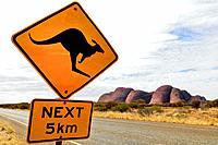 Kangaroo Crossing Sign at Olga Rocks, Katja Tjuta, Uluru National Park, Northern Territory, Australia, Oceania.