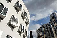 The Neue Zollhof Complex by architect Frank O. Gehry at the eastern Rhine River harbourfront. Dusseldorf, North Rhine Westfalia, Germany, Europe.