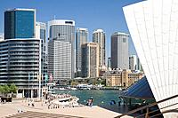 View of office buildings at Circular Quay in Sydney, taken from sydney opera house steps,Australia