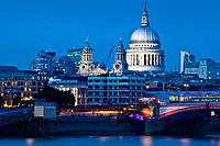 St Paul's Cathedral and River Thames, London, England.