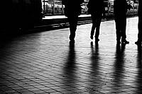 People in train station