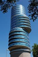Germany, Bochum, Ruhr area, Westphalia, North Rhine-Westphalia, NRW, Exzenter House Bochum, architect Gerhard Spangenberg, commercial tower, overbuild...