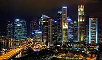 The Central Business District by night. Singapore.
