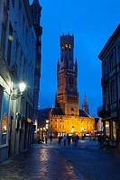 Markt square and Belfort XIIIth Century in Bruges, West Flanders, Belgium.