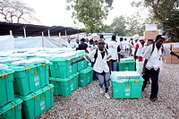 Aid distribution after earthquake in 2010 by Shelterbox and Medecine Sans Frontier in Horse Range IDP camp, Port au Prince, Haiti.