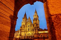Cathedral on Plaza del Obradoiro square, World Heritage Site, Way of St James, Santiago de Compostela, A Coruña, Galicia, Spain