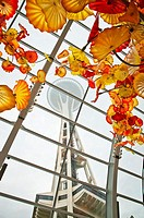 Decorative glass roof of the museum and Seattle Space Needle, Chihuly Garden and Glass museum, Seattle, USA.