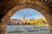 St. James way, View of the Cathedral from España square at Santo Domingo de la Calzada, La Rioja, Spain.