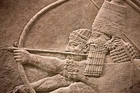Assyrian bas-relief at British Museum, London, England, UK