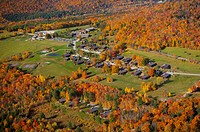 Aerial view of Trapp Family Lodge during peak foliage season, Stowe, Vermont, USA.