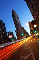 Flatiron Building, triangular island-block formed by Fifth Avenue and Broadway, New York City, USA.