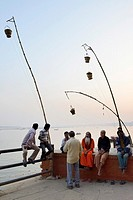 India, Uttar Pradesh, Varanasi, The ghats at dusk.