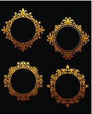Set of vintage golden frames for design in victorian style