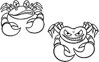 Danger cartoon crabs with big claws for mascot design