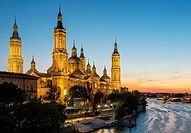 Pilar´s Basilic in Zaragoza over Ebro River, Saragossa, Aragon, Spain.