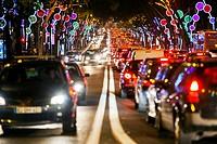 Christmas Lights in the Avenida da Liberdade, Lisbon, Portugal, Europe.