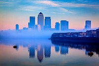 Canary Wharf Financial District Through The Fog, London, England.