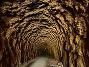 Tunnel, via verde Delta d´Ebro.Terra alta, Catalonia, Spain.