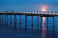 Moonrise at Saltburn Pier Saltburn by the Sea Redcar and Cleveland England.