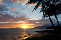 Sunset at Cove Park, Kihei, Maui, Hawaii.