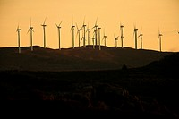 wind turbine at sunset in the Maestrazgo, near Morella. Castellón.