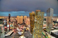 Dark clouds move into the Las Vegas area.