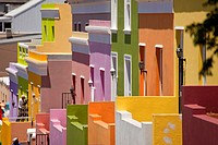typical coloured homes in the quarter Cape Malay Bo-Kaap, Cape Town, Western Cape, South Africa.