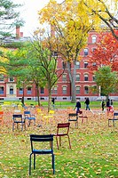 CAMBRIDGE, MA, USA: Harvard Yard, old heart of Harvard University campus, after Fall rains in Cambridge