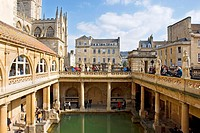 The Great Bath at the Roman Baths, City of Bath, Somerset, England.