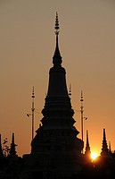 Silhouette of a stupa in Phnom Penh