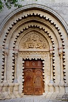 Main door of benedictine abbey of the Notre-Dame, Ganagobie, Forcalquier district, in Alpes-de-Haute-Provence department, Provence-Alpes-Côte d´Azur r...