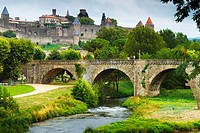 Fortress and Pont Vieux (old bridge) and Aude river.Carcassonne medieval city. France, Europe.