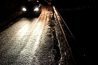 street scene at night in wales great britain uk