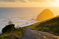 Sunset over the Mattole Road, at westernmost point of paved road in the contiguous US, Cape Mendocino, Lost Coast, California.