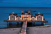 The Sellin Pier is a pier at the Baltic Sea. The pier is 394 meters long. It was inaugurated in 1998, Sellin, Ruegen Island, County Vorpommern-Ruegen,...